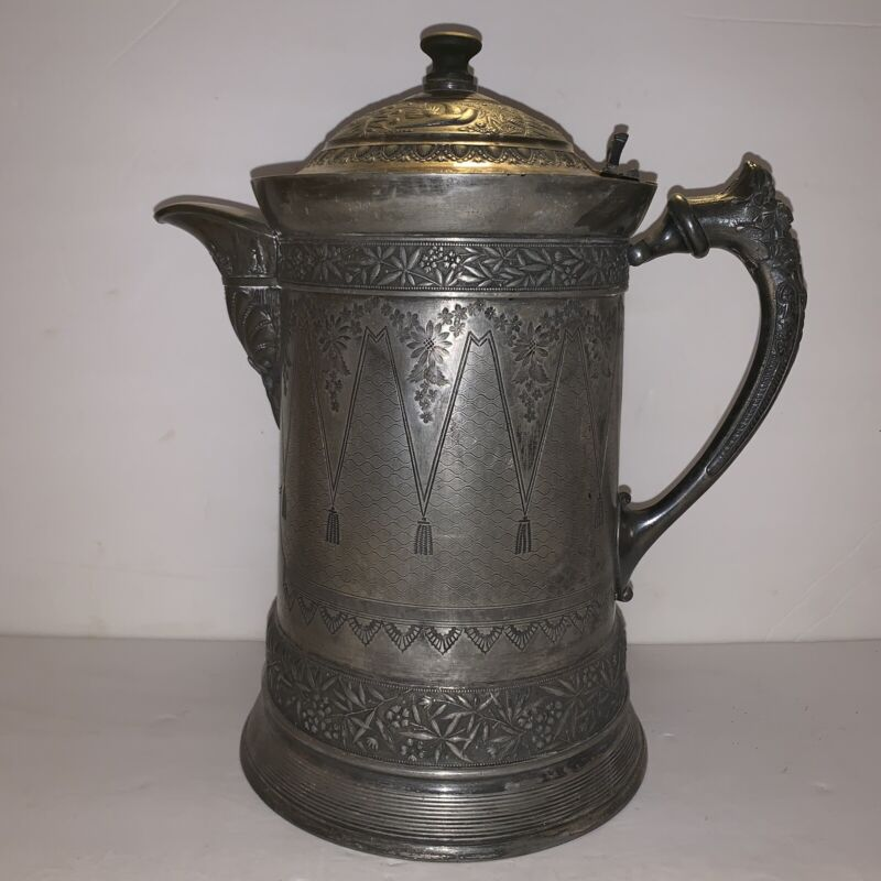 Antique Meriden Ornate Water Ice Pitcher Patent 1868 See Pics