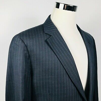 Brooks Brothers 46L Suit Jacket Madison Fit Charcoal Blue Striped Two Button Charcoal Stripe Suit Jacket