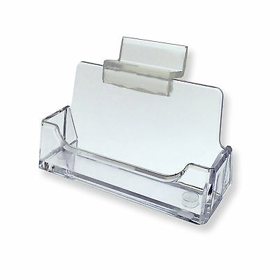 Lot Of 24 Slatwall Clear Plastic Business Card Holder Display Stand Desk Rack