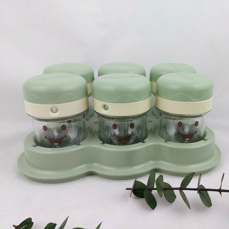 6 Baby Bullet Food Storage Containers With Tray Green