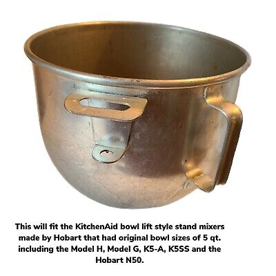 Vintage Kitchenaid Hobart 5 Qt Tin Steel Mixer Bowl Only Model G H K5-a K5ss N50