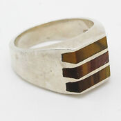 Mens Sterling Tiger Eye Ring