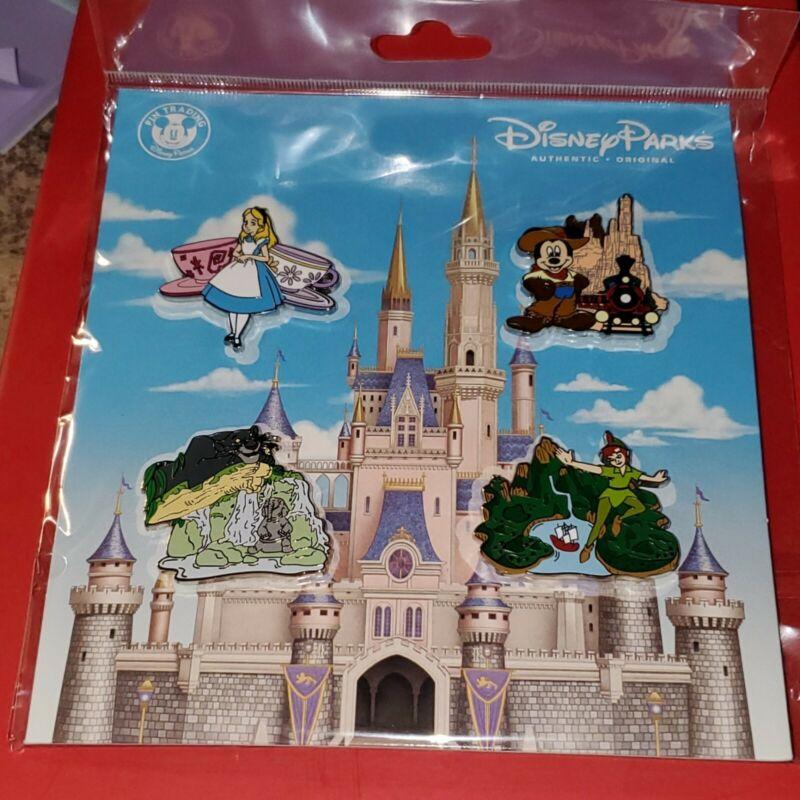 Disney Pins Attractions Alice TeaCups Mickey Bagheera Peter Pan 2020 Booster Set