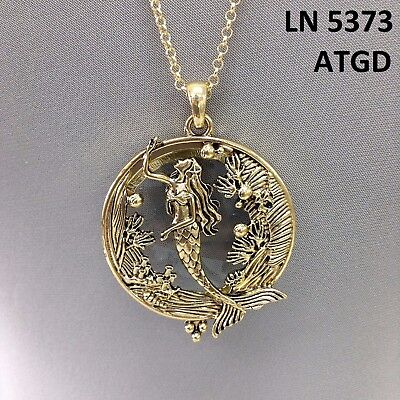 Sea glass pendantebay 1 gold finished sea ocean life mermaid design magnifying glass pendant necklace mozeypictures Gallery