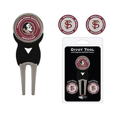 NCAA Florida State Seminoles Golf Divot Tool and 3 Ball Markers Enamel Team Logo - Florida State Seminoles Golf Ball