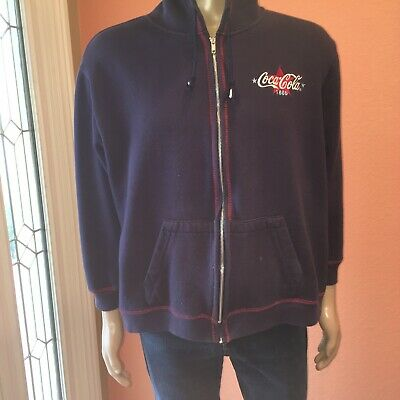 Coca Cola Coke 1886 Zip Up Hoodie Jacket XXL 2XL Dark Blue Vintage Embroidery