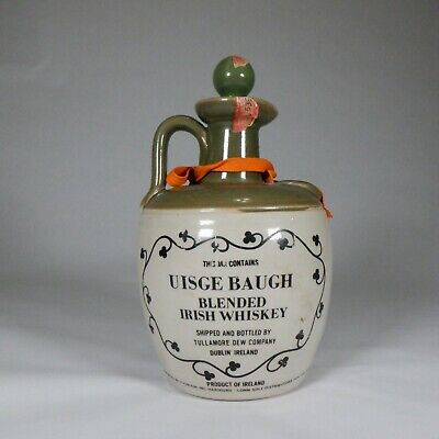 Vintage Whiskey Jug. Tullamore Dew 4/5Qt Of Uisge Baugh Blended Irish Whiskey