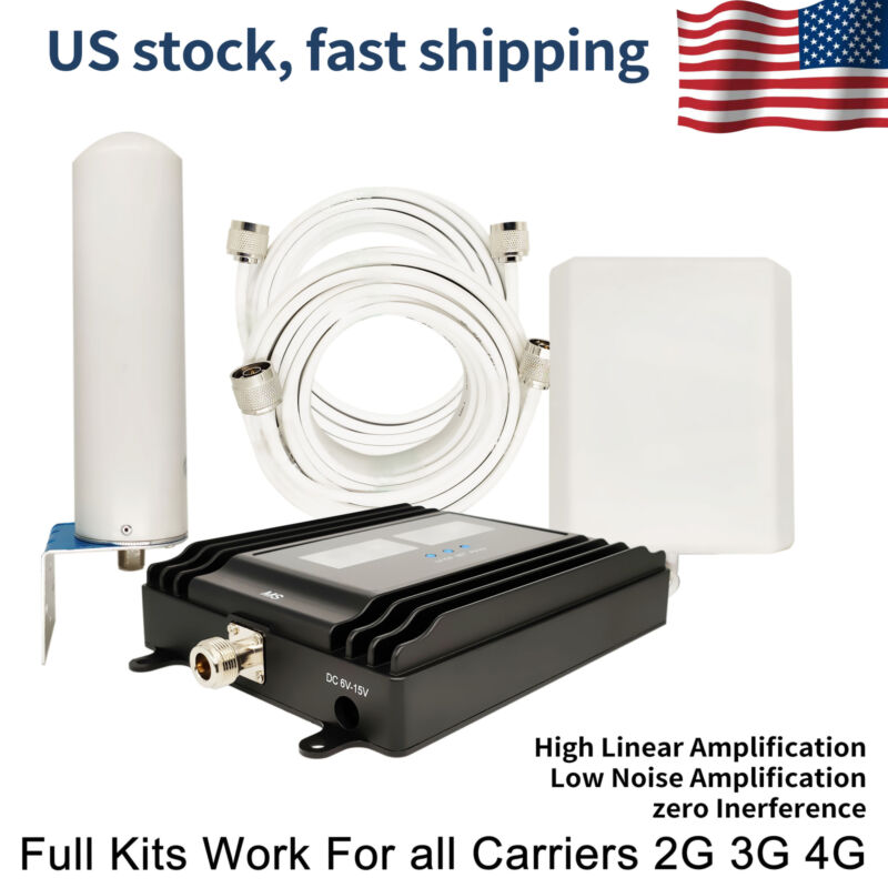 Five Band Cell Phone Signal Booster Work For All Carriers 2/3/4G LCD DISPLAYING