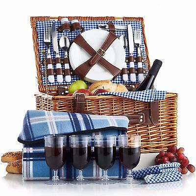 VonShef 4 Person Wicker Picnic Basket Hamper Set with Flatware and Wine Glasses