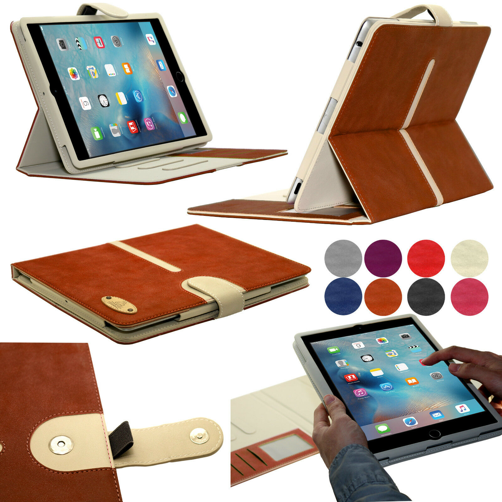 Suede Leather Wallet Smart Detachable Flip Folio Case Cover