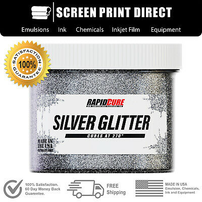 Silver Glitter - Premium Plastisol Ink For Screen Printing - Low Temp Cure - 8oz