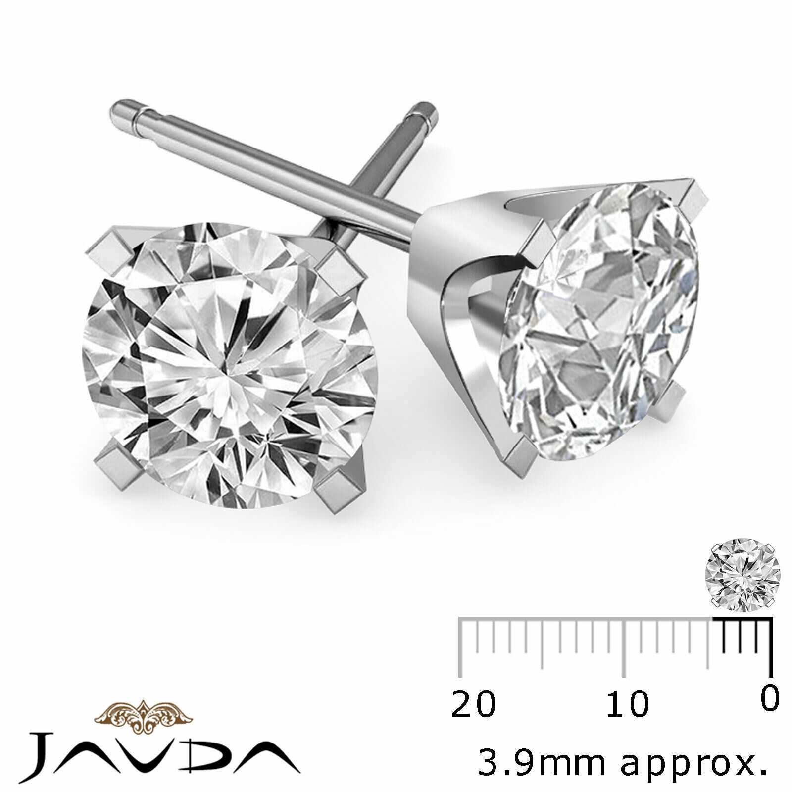100% Natural Round Cut Diamond Light Weight 1 Pair Stud Gold Earrings 1/2 ctw.