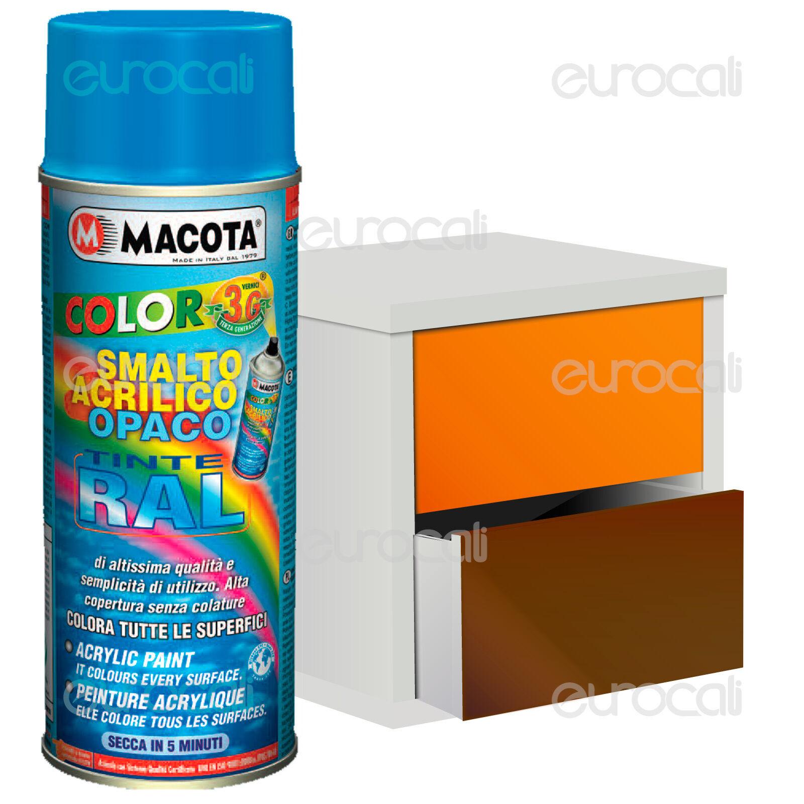MACOTA Vernice Spray 400ml Smalto Acrilico a Scelta Colori RAL Opaco NON COLA
