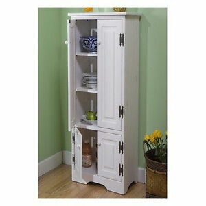 Extra tall pine cabinet storage kitchen bathroom cupboard pantry organize white ebay - Tall kitchen storage cabinet ...