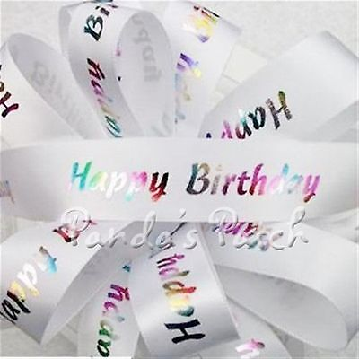 Happy Birthday Satin Ribbon 23mm - Choose the Milestone/Design & Length Free - Happy Birthday P