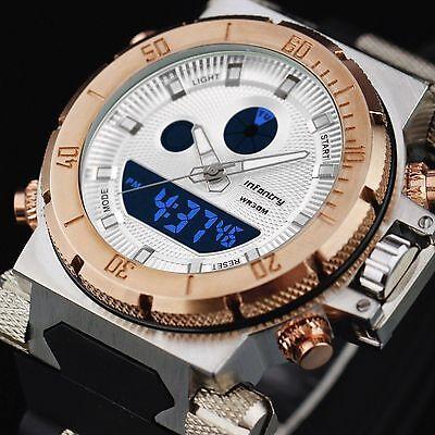 INFANTRY Mens Digital Quartz Wrist Watch Chronograph Date Sport Army Rubber Gold