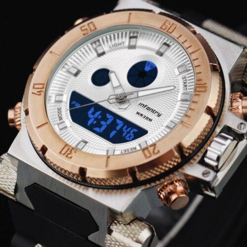 Mens Watches - INFANTRY Mens LED Digital Quartz Wrist Watch Chronograph Gold Sport Army Rubber