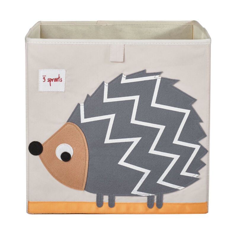 3 Sprouts Cube Storage Box - Organizer Container for Kids & Toddlers, Hedgehog