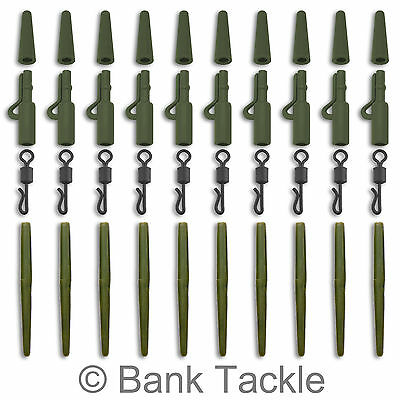 Lead Clips Anti Tangle Sleeves Quick Change Swivels Green x 10 Carp Tackle AAQ1