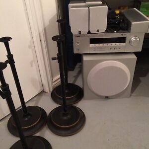 Yamaha stereo with speaker stands