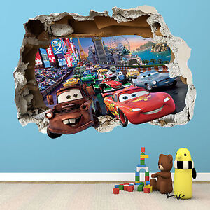 Disney cars smashed wall sticker bedroom boys girls for Disney pixar cars wall mural