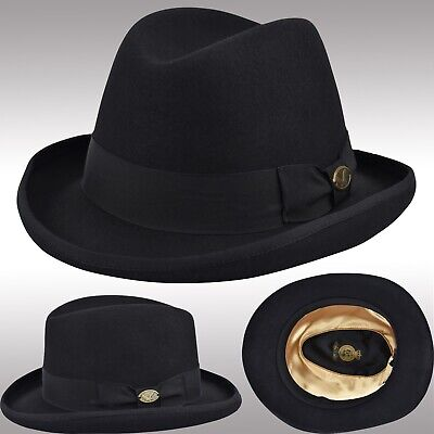 Classic Felt Wool Homburg Fedora Hat Bowler Derby Hat Hard Shell Black FHe31 - Black Felt Derby Hat