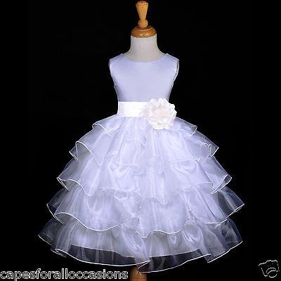 WHITE PAGEANT WEDDING TIERED ORGANZA FLOWER GIRL DRESS 2/2T 3/4 4T 5/6 7/8 9/10](White Organza Flower Girl Dress)