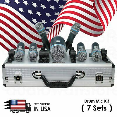 New Professional Wired Microphone Mic Kit for Drum Set 7 Pieces w/ Mounting Kit
