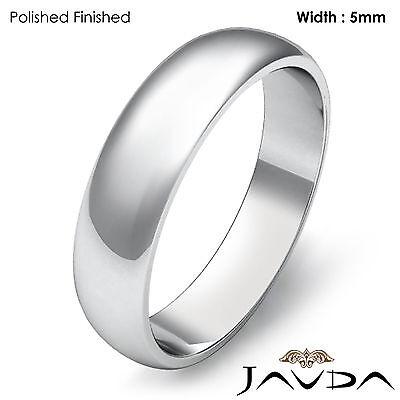 5mm Platinum Dome Plain Men High Polish Wedding Band Matt Finish Ring 7.6g 8-8.5