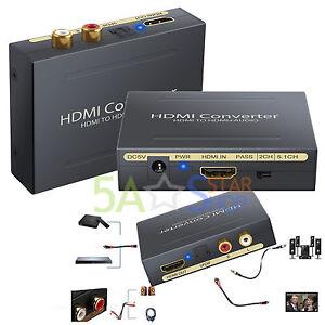 1080P HDMI to HDMI & SPDIF Audio Extractor Optical RCA Analog Converter Splitter