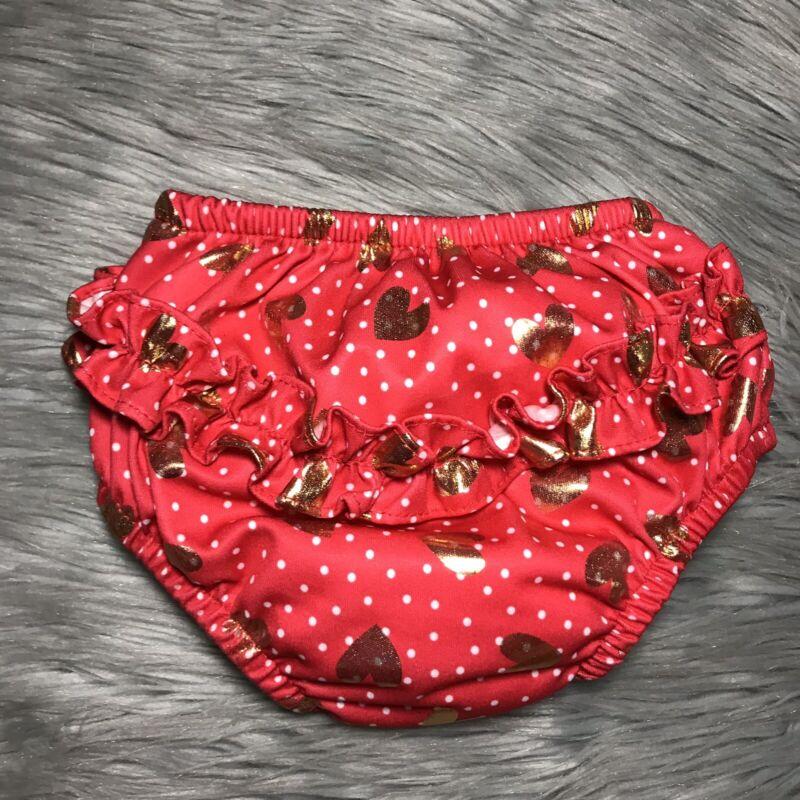iplay Swim Diaper Summer Ruffle Butt 24 Month UPF 50+ Red Polka Dot Hearts Gold