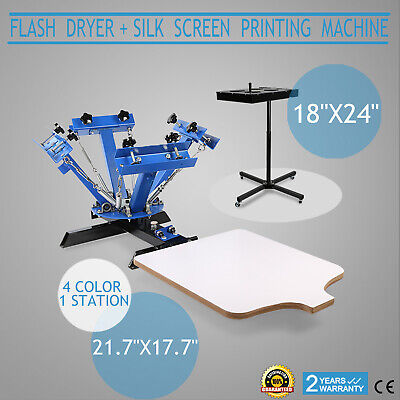 4 Color Screen Printing 1 Station Kit 18 X 24 Flash Dryer Wheels Wood Cutting