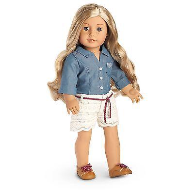 American Girl NEW Tenney Picnic Outfit chambray shirt shorts shoes 3pc NIB NRFB