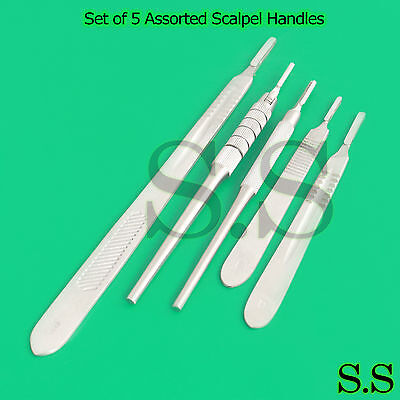 Set Of 5 Assorted Surgical Scalpel Blade Handles Flat Round 4 4l