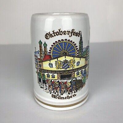King Oktoberfest Munchen Beer Stein Mug Made in Germany German White Ceramic