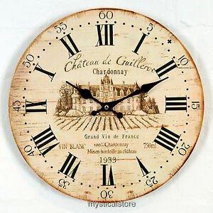 Large CHARDONNAY Wooden WALL CLOCK Vintage Style Antique Shabby Chic Distressed