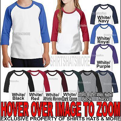 - Youth Raglan Jersey 3/4 Sleeve Baseball T-Shirt Cotton/Poly Boys Girls Tee XS-XL