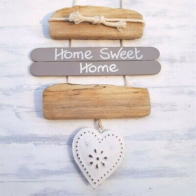 CHIC SHABBY NAUTICAL DRIFTWOOD WOODEN HOME SWEET HOME METAL HEART PLAQUE