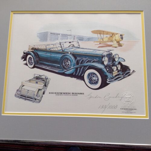RARE 1933 DUESENBERG TOURSTER LIMITED EDITION LITHOGRAPH SIGNED GORDON BUEHRIG