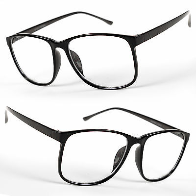 Large Oversized Vintage Glasses Clear Lens Thin Frame Nerd Glasses Retro BLACK