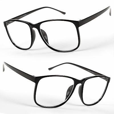 Large Oversized Vintage Glasses Clear Lens Thin Frame Nerd Glasses Retro BLACK](Nerd Glasses Cheap)
