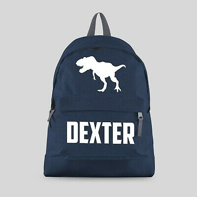 Personalised Kids Backpack Name Dinosaur Reptile TRex Boys Back To School CBPTR
