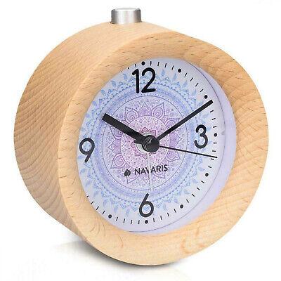 NEU Analog Holz Uhr Wecker mit Snooze - Retro Uhr Tischuhr Alarm Licht Naturholz ()