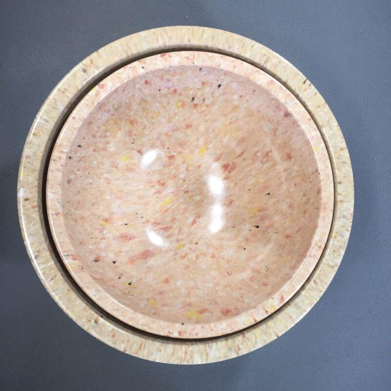 Lot Texas Ware Mixing Bowls Tan Pink Confetti Splatter Speckle Melmac - Vintage