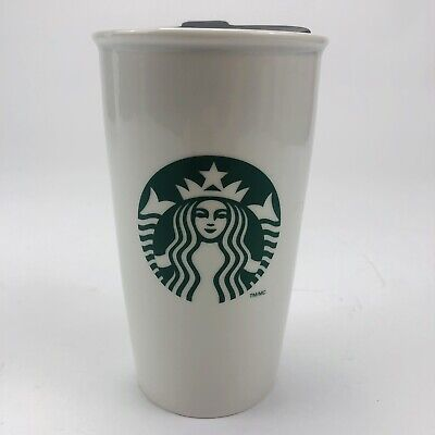 2011 Starbucks Siren Logo Double Wall Ceramic Travel Mug White Tumbler 11 oz