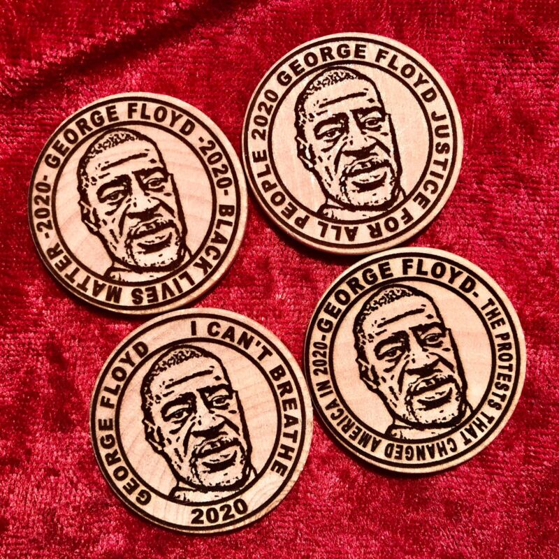 4PC 2020 GEORGE FLOYD BLACK LIVES MATTER I CANT BREATHE WOODEN NICKEL TOKEN COIN