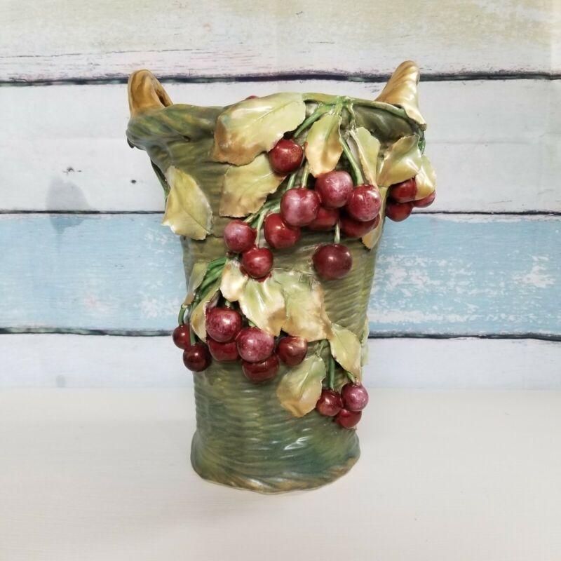 """Large Antique Crown Amphora Teplitz Austria Cherry Basket Porcelain Vase 13"""""""