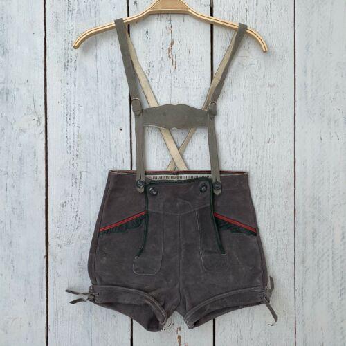 Auth VTG Lederhosen Suede German Boys Shorts Suspenders Size 140