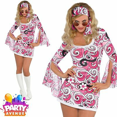 Ladies Ivanna GoGo 60s Hippy Chick Fancy Dress Costume Womens Outfit  (Gogo Outfit)