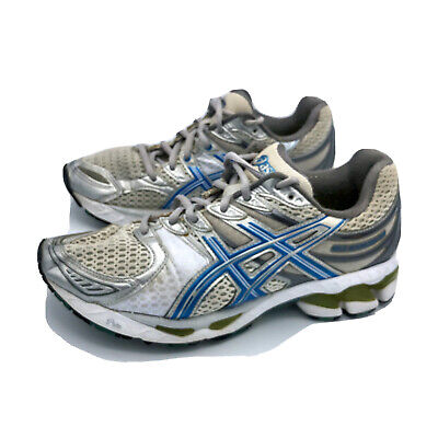 ASICS GEL KAYANO 16 Womens White Gray Blue Running Athletic Shoes T050N Size 8.5